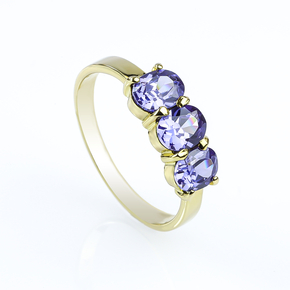 Genuine Oval Cut 3 Stone Tanzanite 10K Gold Ring