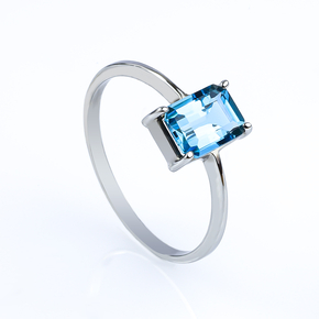 Genuine Emerald Cut Blue Topaz Engagement 14k White Gold Ring