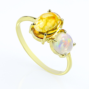 Natural High Quality Mexican Fire Jelly Opal Gold Ring 14K Solid Gold