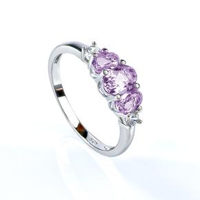 3 Stone Cut Alexandrite Silver Engagement Ring