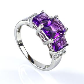 3 Stone Amethyst Sterling Silver Ring