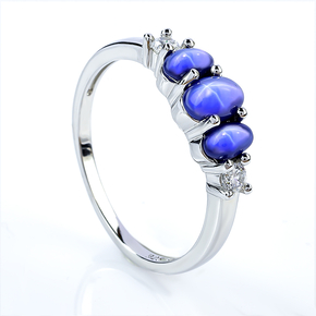 3 Stone Star Sapphire Silver Ring