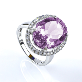 Big Oval Cut Alexandrite Sterling Silver Ring