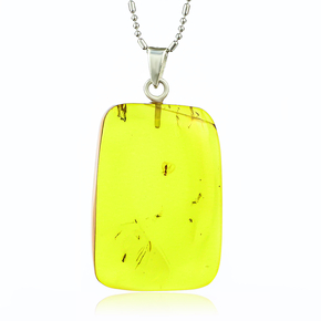 100% Natural Amber With Baby Fly Silver Pendant 37mm x 20mm