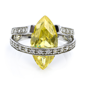 Marquise Cut Color Change Zultanite Stone Sterling Silver Ring With Simulated Diamonds