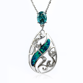 Handcrafted Australian Opal With Alexandrite Sterling Silver Pendant