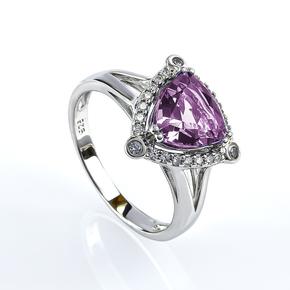 Trillion-Cut Alexandrite Sterling Silver Ring