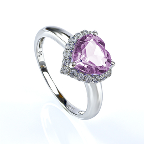 Alexandrite Sterling Silver Solitaire Ring Heart Shape