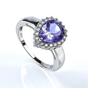 Color Changing Alexandrite and Simulated Diamond Ring
