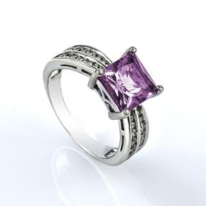 Alexandrite Silver Ring Princess Cut Stone