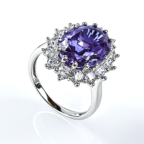 Color Change Alexandrite Princess Kate Style Silver Ring