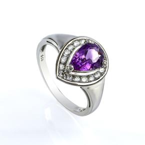 Pear Cut Amethyst Silver Ring