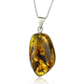 Natural Amber Pendant With Sterling Silver