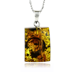 100% Natural Amber Silver Pendant 32mm x 14mm
