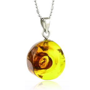 100% Natural Amber With Ant Silver Pendant 25mm x 15mm