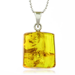 100% Natural Amber With Insect Parts Silver Pendant 25mm x 10mm