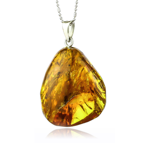Genuine Amber Pendant With Sterling Silver