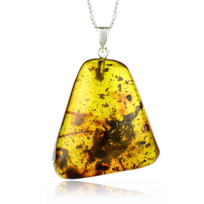 Huge Genuine Amber Silver Pendant