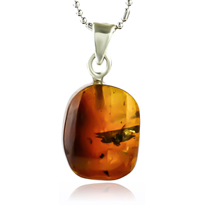 100% Natural Amber Silver Pendant 20mm x 10mm