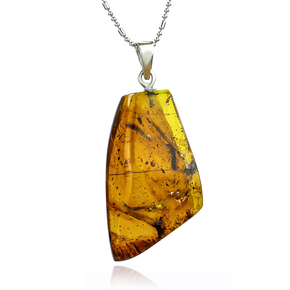 Genuine Amber Silver Pendant From Mexico 40 mm x 19 mm