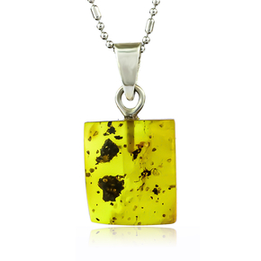 Unique 100% Natural Amber With Insects Silver Pendant 20mm x 11mm