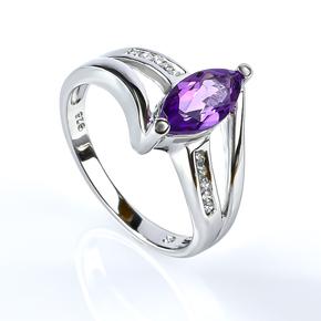 Marquise Cut Amethyst Ring