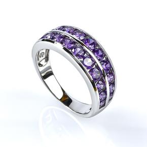 Sterling Silver Journey Amethyst Ring