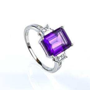 Amethyst Sterling Silver Emerald Cut Ring