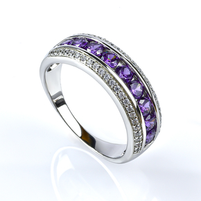 Amethyst Sterling Silver Stackable Ring