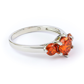 3 Stone Fire Opal Silver Ring