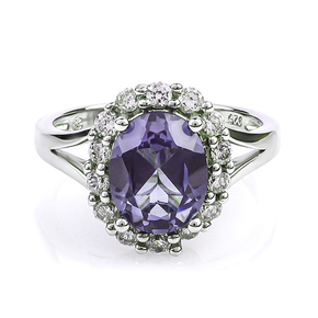 Alexandrite Blue to Purple Color Change Silver Ring