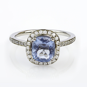 Alexandrite Stone MicroPave Silver Ring Blue to Purple Color Change