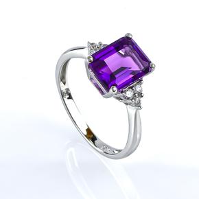 Emerald Cut Amethyst Silver Ring