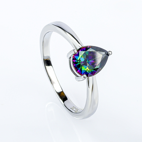 Solitaire Mystic Topaz Sterling Silver Ring