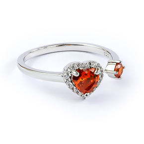 Double Fire Opal Sterling Silver Solitaire Ring Heart Shape