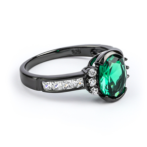 Emerald Oval Cut Stone Black Silver Ring