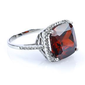 Sterling Silver Cushion Cut Red Garnet Ring