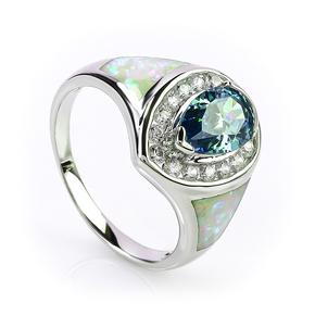 Australian Opal Ring with Pear Cut Alexandrite