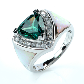Huge Trillion Cut Alexandrite Sterling Silver Ring With White Opal
