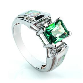 Trillion Cut Alexandrite White Opal Sterling Silver Ring