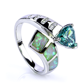 Trillion Cut Alexandrite Sterling Silver Ring With White Opal
