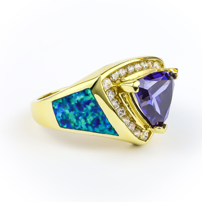 Sterling Silver Yellow Gold Vermeil Blue Opal Ring with Tanzanite