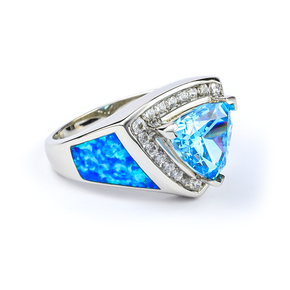 Blue Opal and Topaz Silver Ring