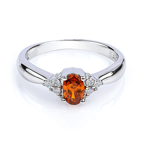 Silver Fire Cherry Opal Ring