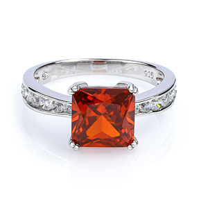 Mexican Fire Cherry Opal Silver Ring Square Cut Stone