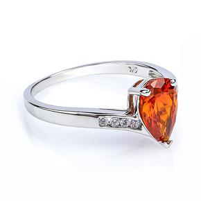 Fire Opal Pear Cut Stone Silver Ring
