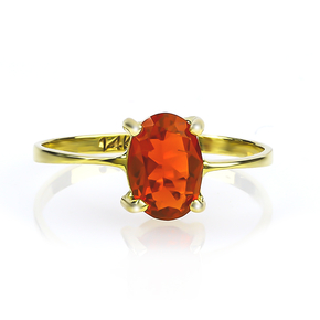 Natural High Quality Mexican Fire Cherry Opal 14K Gold Ring