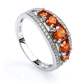 Sterling Silver Stackable Fire Opal Ring