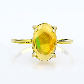 Genuine Mexican Opal Cabuchon 14K Solid Gold Ring