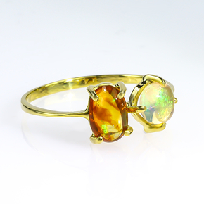 Genuine Fire Mexican Opal Natural 14K Solid Gold Ring